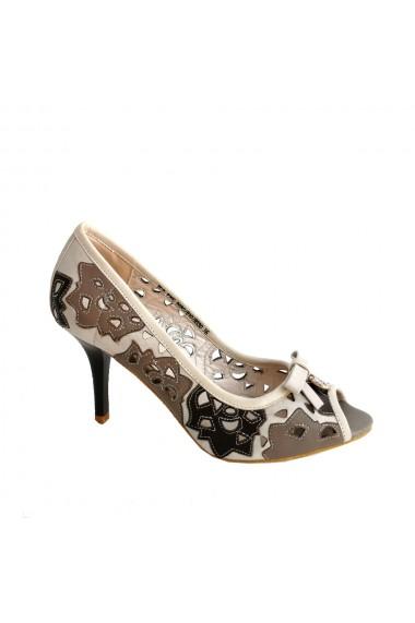 Pantofi din piele naturala bej maron Veronesse decupati cu toc de 8 cm
