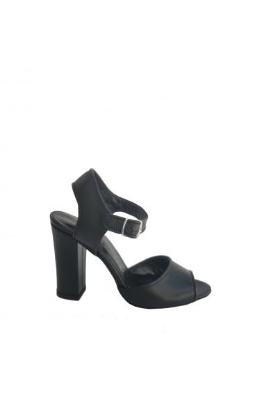 Sandale din piele naturala Veronesse cu toc gros 10 cm