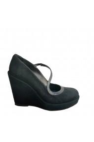 Pantofi din piele naturala neagra Veronesse cu talpa ortopedica 11 cm
