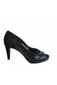 Pantofi din piele naturala Veronesse cu toc de 8 cm si platforma , negri