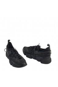 Pantofi sport Veronesse Marko din piele naturala si material glitter straluctior Negri