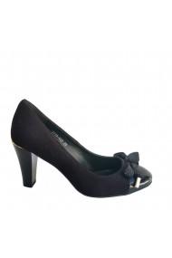 Pantofi din piele naturala neagra Veronesse cu fundita si toc de 8 cm