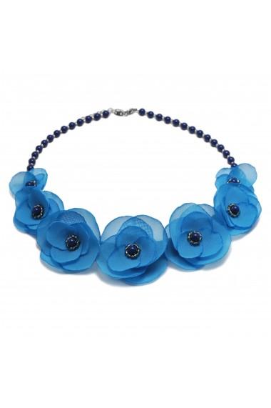 Colier statement flori albastre Blue Sky