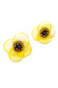 Cercei floare galbena voal stil matase Ariana