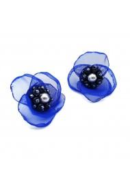 Cercei floare albastra voal stil matase Jessie