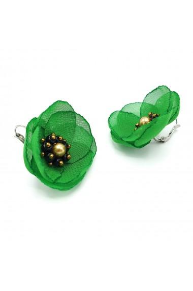 Cercei eleganti floare verde Mayra