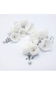 Cercei lungi mireasa flori albe Bridal Wish