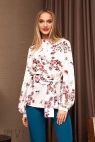 Bluza Pretty Girl alba cu imprimeu floral si cordon