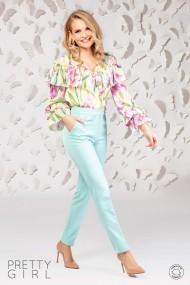 Bluza Pretty Girl cu imprimeu floral si volan