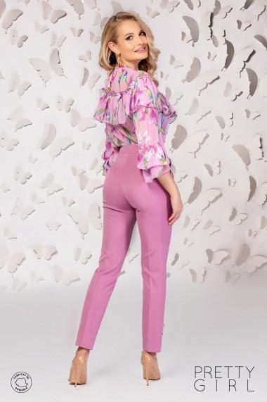 Bluza Pretty Girl rose cu imprimeu floral si volan