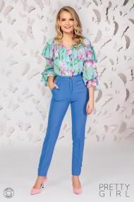 Bluza Pretty Girl vernil cu imprimeu floral si volan