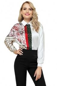 Bluza dama cu imprimeu floral tip paisley rosu Rosu