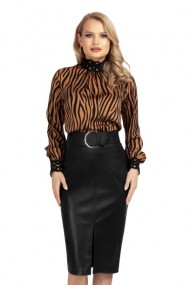 Bluza dama cu imprimeu zebra maro-negru Maro