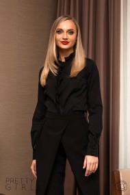Camasa Pretty Girl office neagra cu volanase aplicate