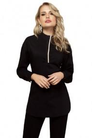 Camasa dama neagra cu fenta in contrast Negru
