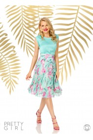Fusta Pretty Girl plisata in clos cu imprimeu floral