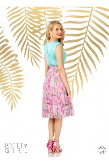 Fusta Pretty Girl rose plisata cu imprimeu floral