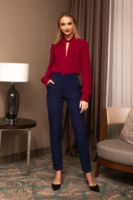 Pantaloni Pretty Girl office bleumarin cu talie inalta