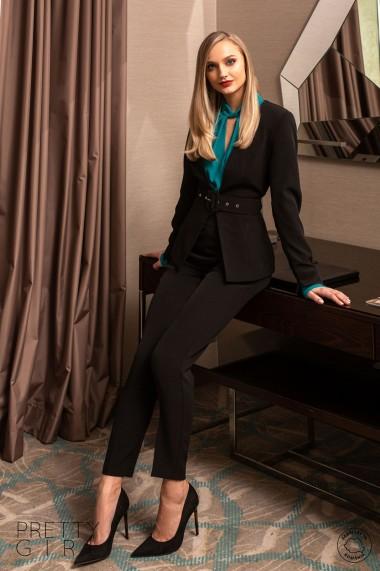 Pantaloni Pretty Girl office negri cu talie inalta