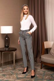 Pantaloni office Pretty Girl cu imprimeu picior de cocos