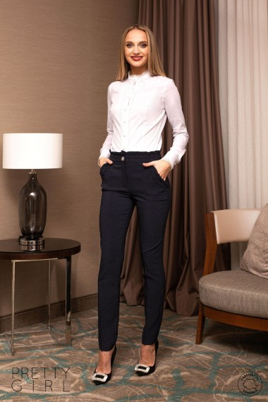 Pantaloni office Pretty Girl bleumarin cu buline albe