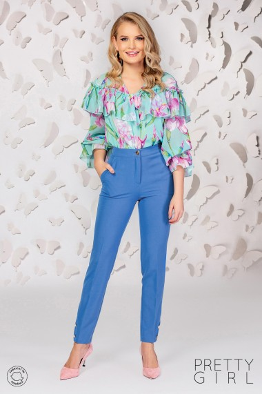 Pantaloni Pretty Girl office blue cu buzunare si nasturi fantezie