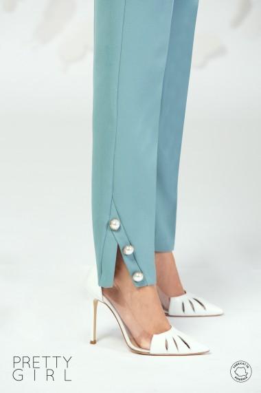 Pantaloni Prety Girl office cu buzunare si nasturi tip perla