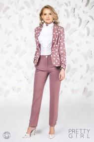 Pantaloni Pretty Girl office rose cu buzunare si nasturi tip perla