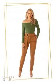 Pantaloni camel Pretty Girl cu aspect de piele intoarsa