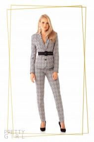 Pantaloni office Pretty Girl cu imprimeu geometric gri