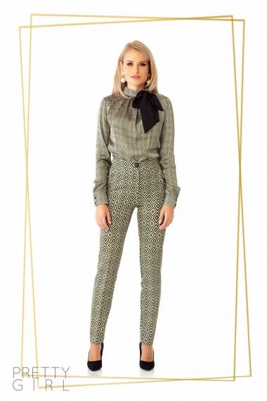 Pantaloni office Pretty Girl cu imprimeu geometric kaki