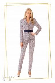 Pantaloni office Pretty Girl cu imprimeu geometric rose