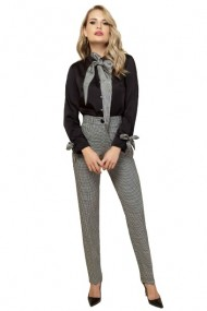 Pantaloni dama eleganti cu imprimeu pied de coq Alb / Negru
