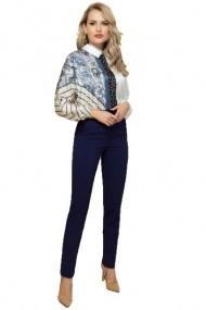 Pantaloni dama office bleumarin cu talie inalta si volanas Bleumarin