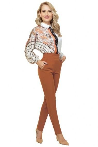 Pantaloni dama office camel cu talie inalta si volanas Camel