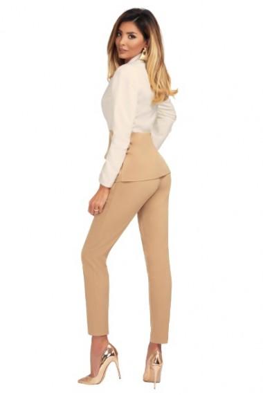 Pantaloni dama eleganti cu nervura pe mijlocul piciorului Bej