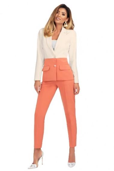 Pantaloni dama eleganti cu nervura pe mijlocul piciorului Roz