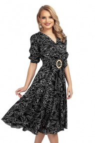 Rochie eleganta neagra cu funda si imprimeu floral Negru