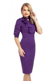 Rochie violet conica cu jabou si brosa detasabila Violet