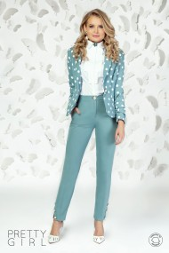 Sacou office Pretty Girl cambrat mint cu print buline