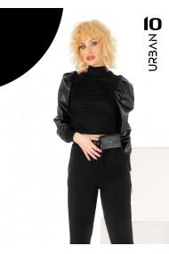 Bluza neagra URBAN10 cu maneci din eco-piele