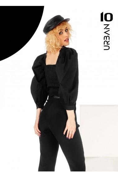 Bluza neagra URBAN10 cu maneci bufante