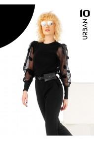 Bluza neagra URBAN10 cu aplicatii 3D