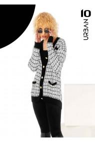 Pulover alb-negru cu nasturi URBAN10