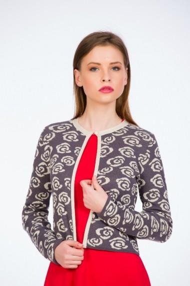 Jacheta tricotata Gri cu trandafiri marca Be You
