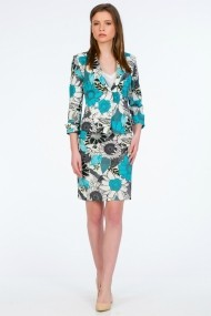 Fusta dreapta Be You 587 PRINT AQUA Floral