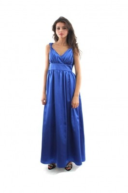 Rochie de seara LOVELY LAUREN albastra cu bretele rasucite