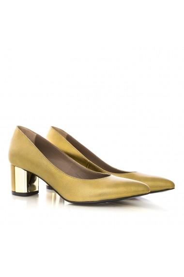 Pantofi cu toc pentru femei CONDUR by alexandru cu imprimeu auriu