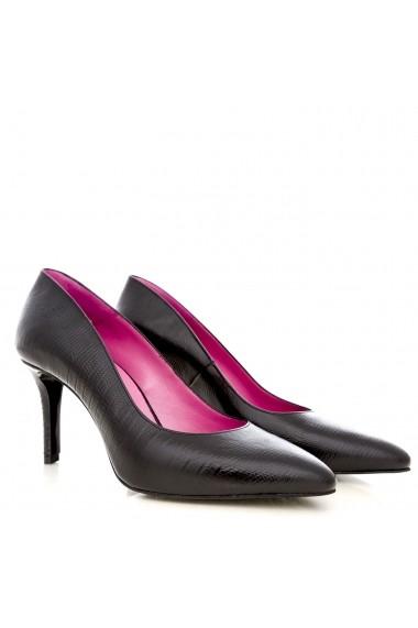Pantofi cu toc CONDUR by alexandru cu print negru