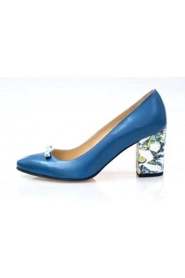 Pantofi cu toc Thea Visconti albastri cu toc imprimat